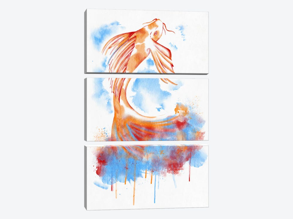 Watercolor Flying Fish 3-piece Canvas Art