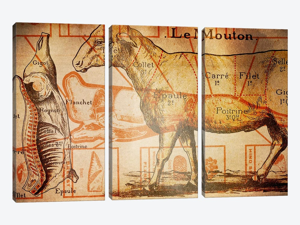 Le Mouton by iCanvas 3-piece Canvas Art Print