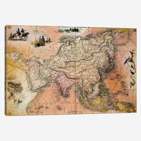Antique Map #1 Canvas Print #ICA1364} by Unknown Artist Art Print