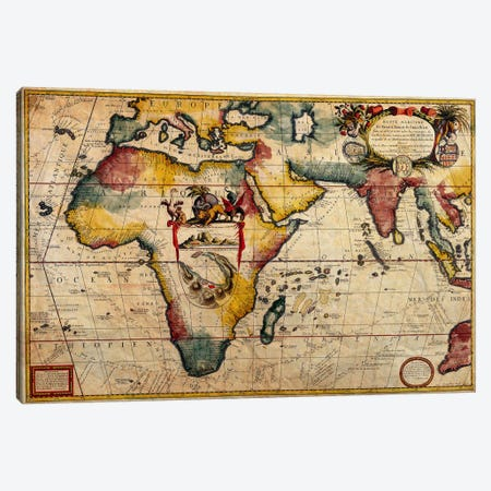Antique Map #2 Canvas Print #ICA1366} by Unknown Artist Art Print