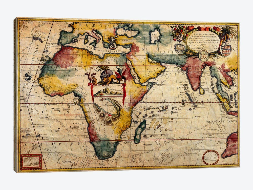 Antique Map #2 by Unknown Artist 1-piece Canvas Print