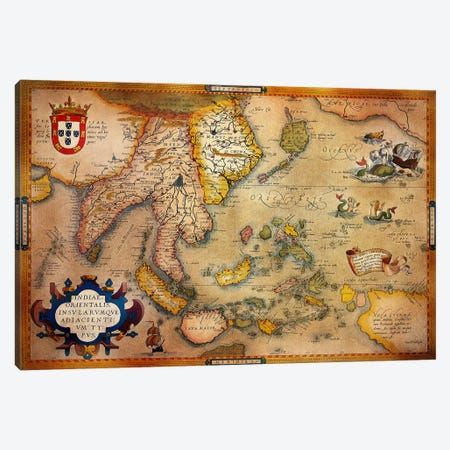 Antique Map #3 Canvas Print #ICA1367} by Unknown Artist Art Print