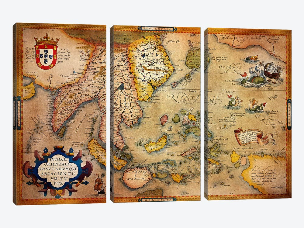Antique Map #3 by Unknown Artist 3-piece Canvas Wall Art