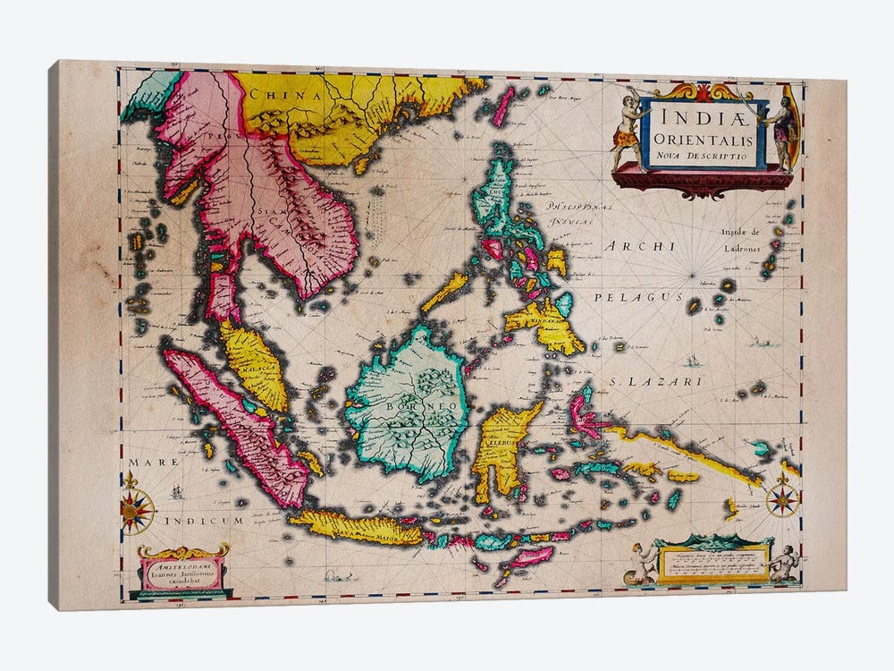 Antique Map #4 by Unknown Artist 1-piece Canvas Print
