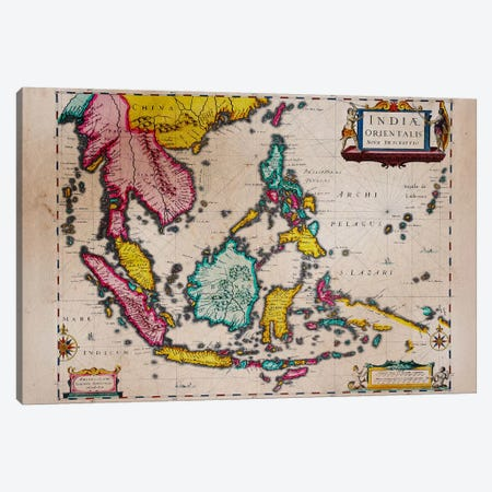 Antique Map #4 Canvas Print #ICA1368} by Unknown Artist Canvas Wall Art