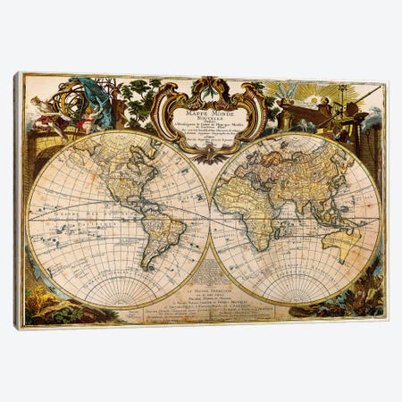 Mappe Monde Nouvelle Canvas Print #ICA1369} by Unknown Artist Canvas Art
