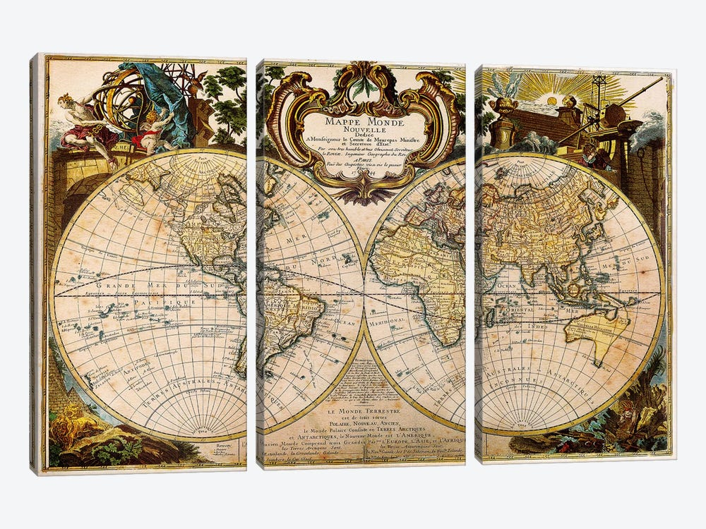Mappe Monde Nouvelle by Unknown Artist 3-piece Canvas Wall Art