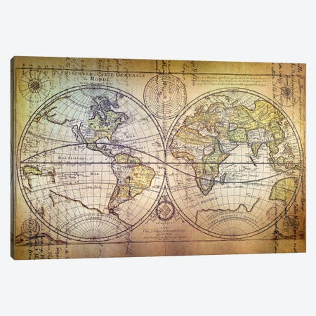 Planisphere Carte Canvas Print #ICA1370} by Unknown Artist Art Print