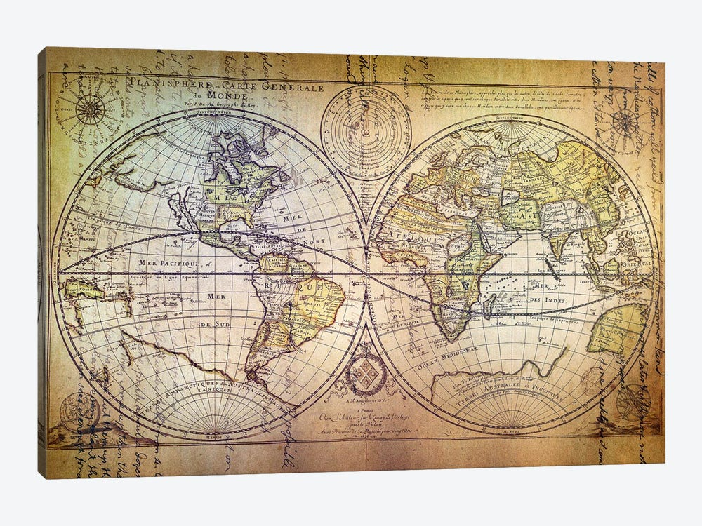 Planisphere Carte 1-piece Canvas Artwork