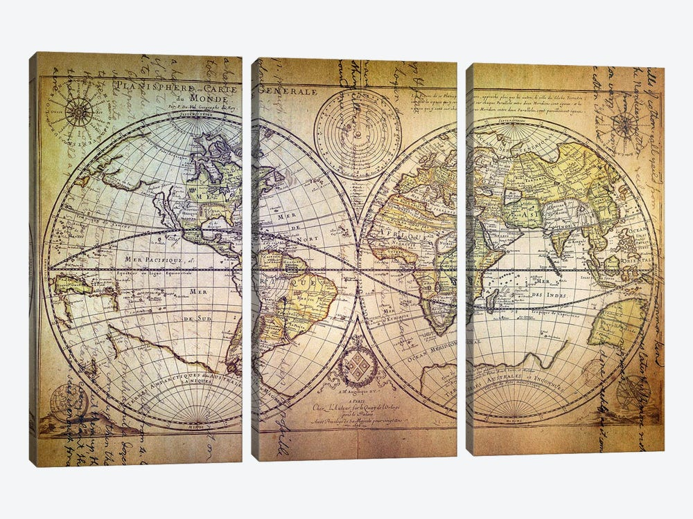 Planisphere Carte by Unknown Artist 3-piece Canvas Wall Art