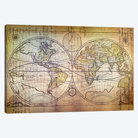 Planisphere Carte Canvas Print #ICA1370} by Unknown Artist Art Print