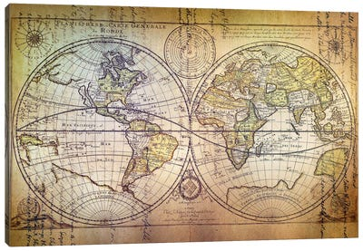 Planisphere Carte Canvas Art Print