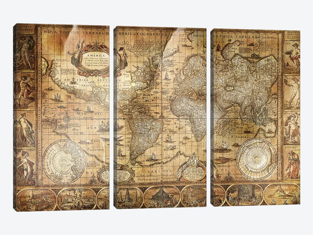 Terrarum Orbis by Unknown Artist 3-piece Canvas Print