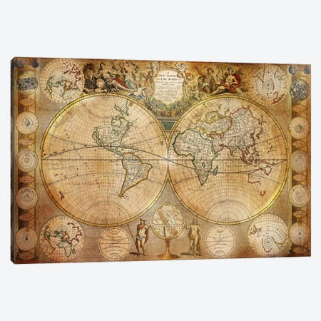 Antique Map #5 Canvas Print #ICA1372} by Unknown Artist Art Print