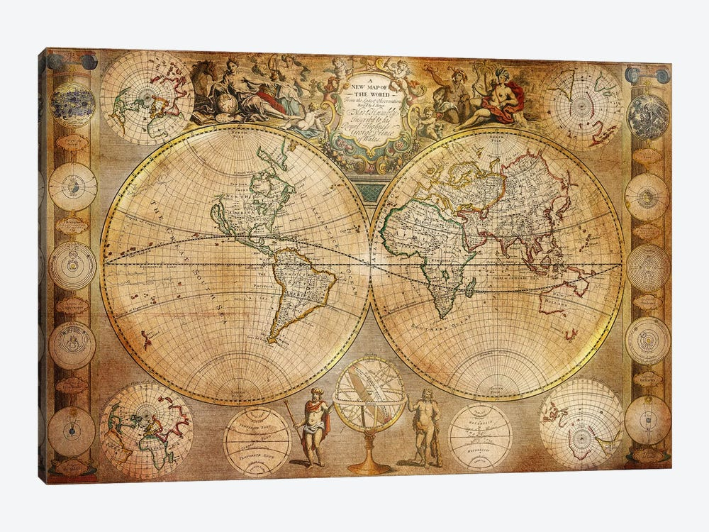 Antique Map #5 1-piece Canvas Wall Art