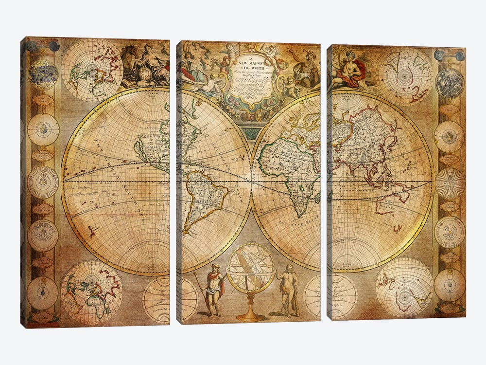Antique Map #5 3-piece Canvas Artwork