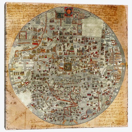 Antique Map #6 Canvas Print #ICA1374} by Unknown Artist Canvas Wall Art
