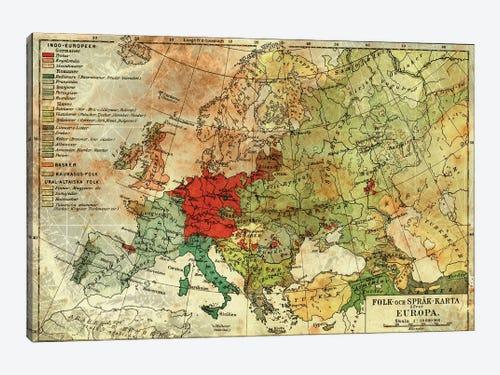 Europa Karta Canvas Print By Unknown Artist Icanvas