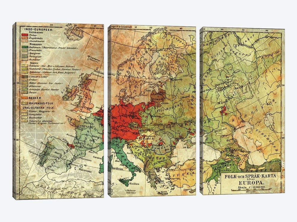 Europa Karta by Unknown Artist 3-piece Art Print