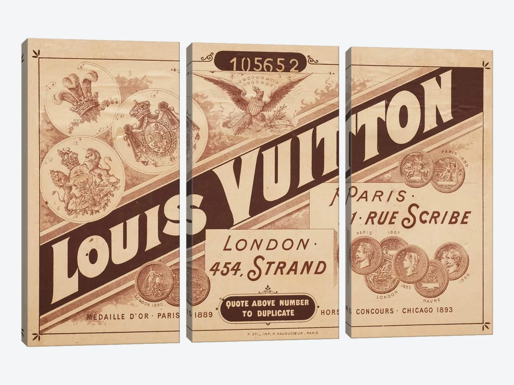 Vintage Louis Vuitton Advertisement 2 by 5by5collective 3-piece Canvas Print