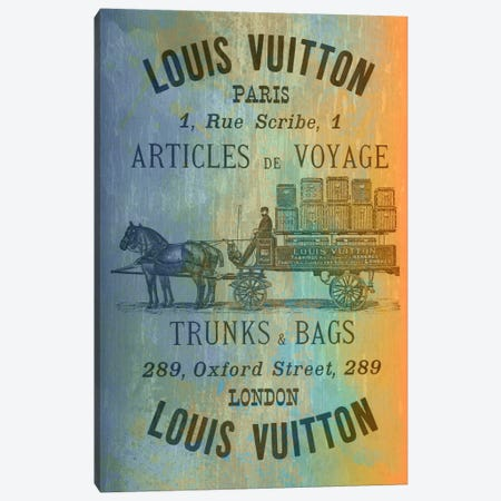 Vintage Woodgrain Louis Vuitton Sign 2 Canvas Print #ICA138} by 5by5collective Canvas Wall Art