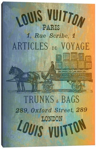 Vintage Woodgrain Louis Vuitton Sign 2 Canvas Print #ICA138