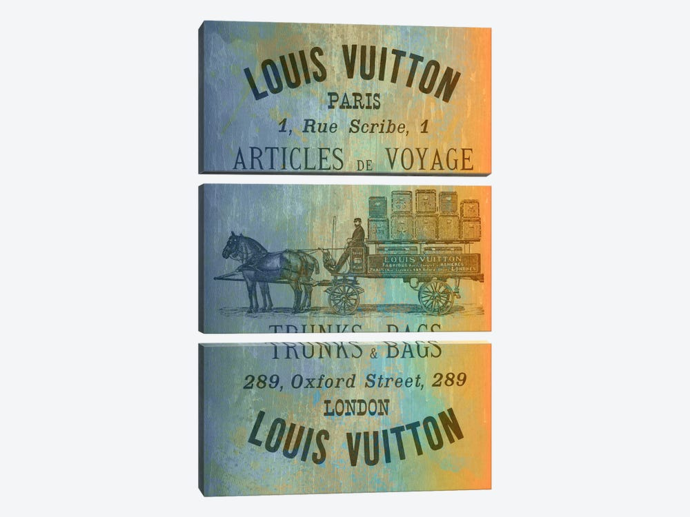 Vintage Woodgrain Louis Vuitton Sign 2 by 5by5collective 3-piece Canvas Artwork