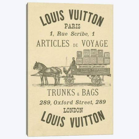 Vintage Woodgrain Louis Vuitton Sign 3 Canvas Print #ICA139} by 5by5collective Canvas Art