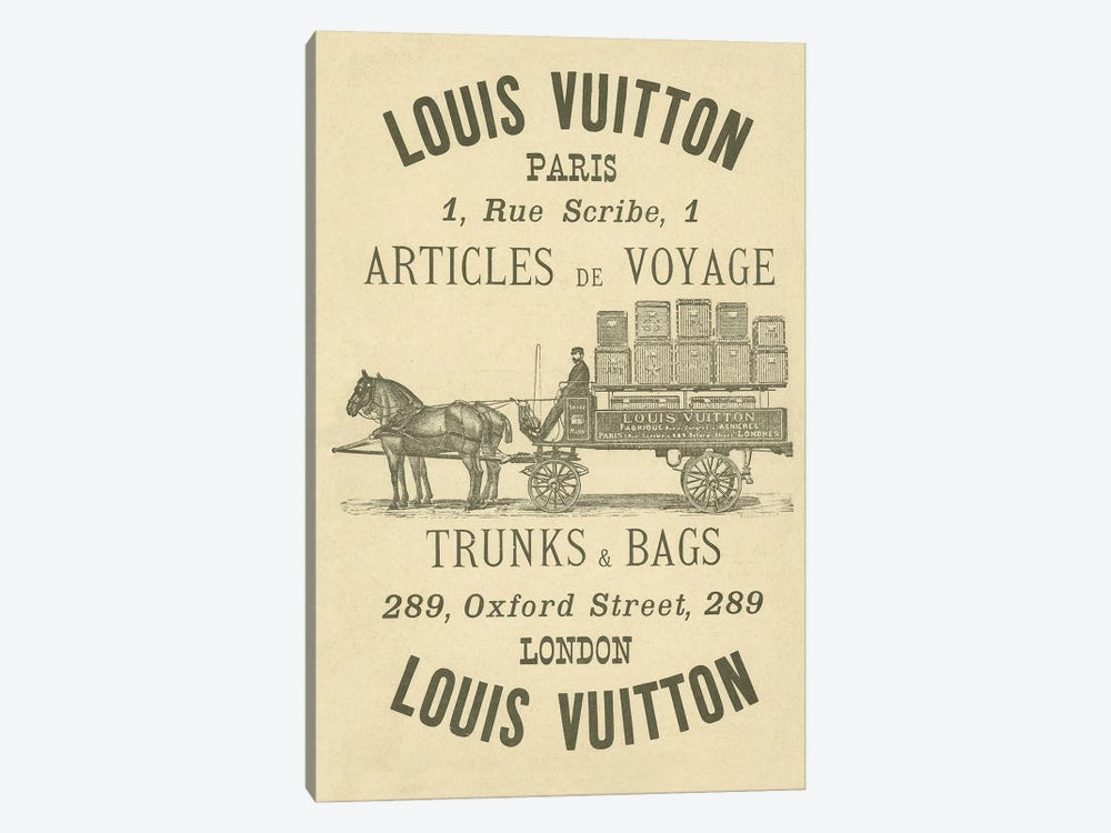 Vintage Woodgrain Louis Vuitton Sign 3 by 5by5collective 1-piece Canvas Art Print