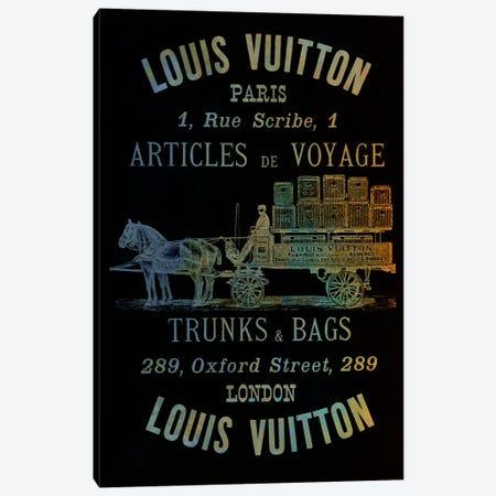 Vintage Woodgrain Louis Vuitton Sign 4 Canvas Print #ICA140} by 5by5collective Art Print