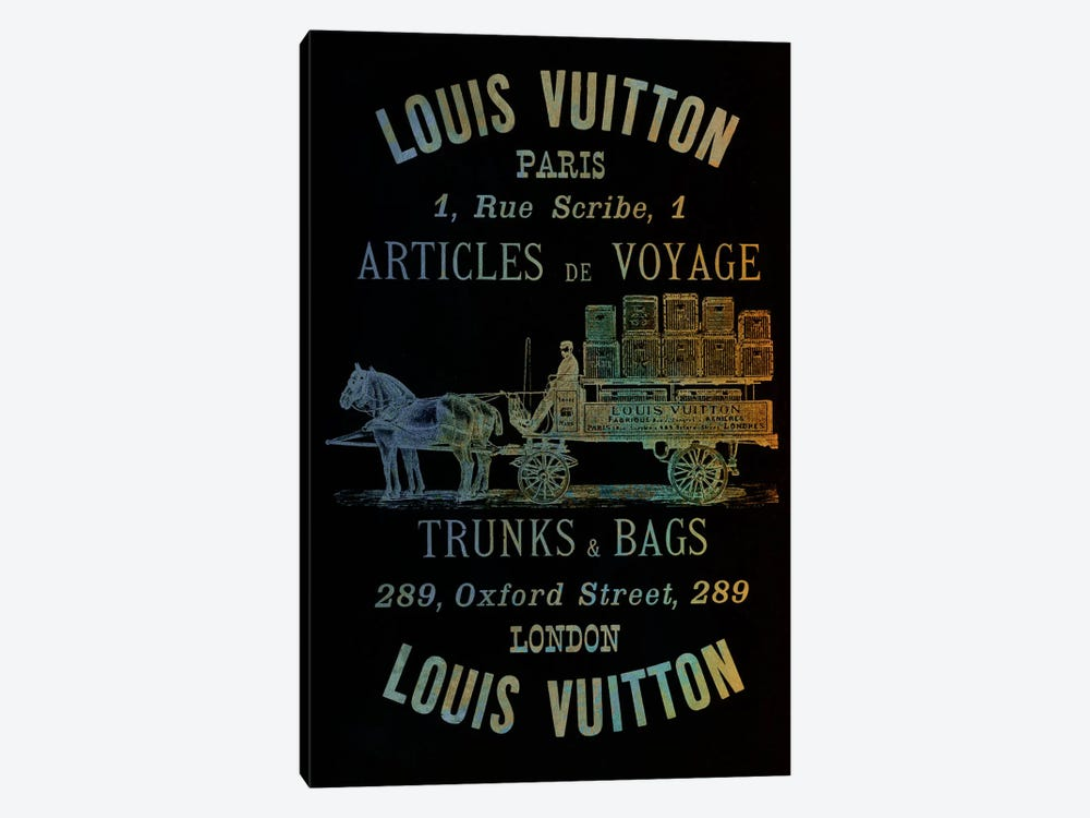 Vintage Woodgrain Louis Vuitton Sign 4 by 5by5collective 1-piece Canvas Print
