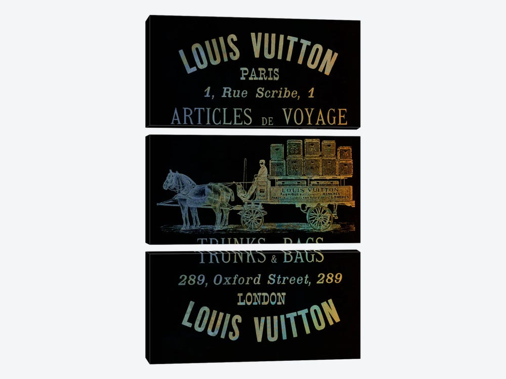 Vintage Woodgrain Louis Vuitton Sign 4 by 5by5collective 3-piece Art Print
