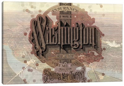 Vintage Washington DC Map Canvas Print #ICA145