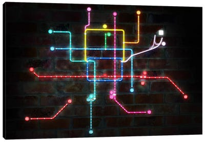Neon Transit Map Canvas Print #ICA146