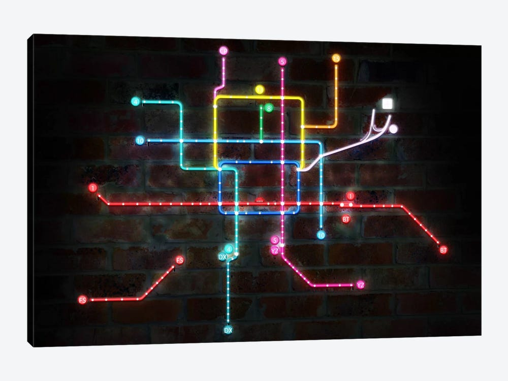 Neon Transit Map by iCanvas 1-piece Canvas Print