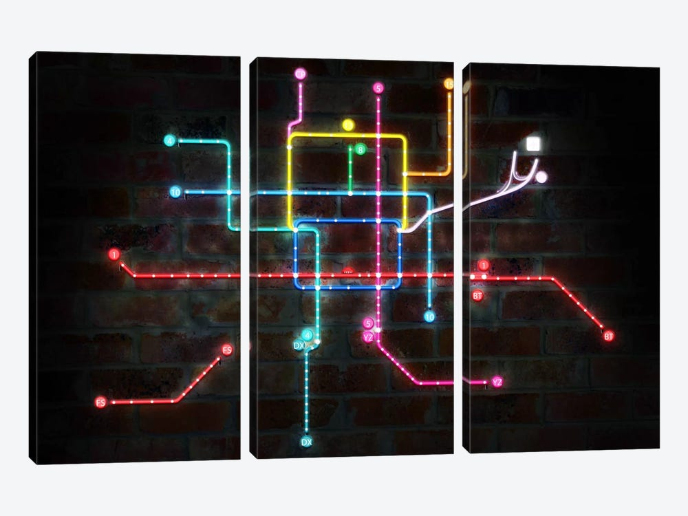 Neon Transit Map by iCanvas 3-piece Canvas Print