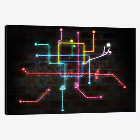 Neon Transit Map Canvas Print #ICA146} by Unknown Artist Canvas Wall Art
