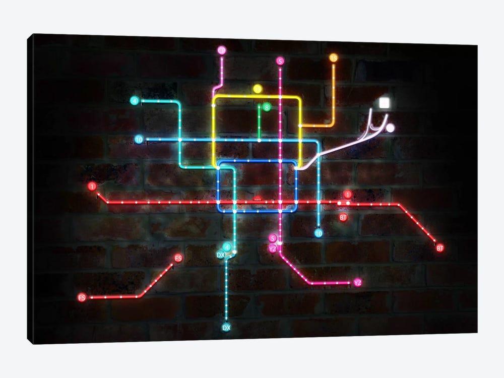 Neon Transit Map by Unknown Artist 1-piece Canvas Print