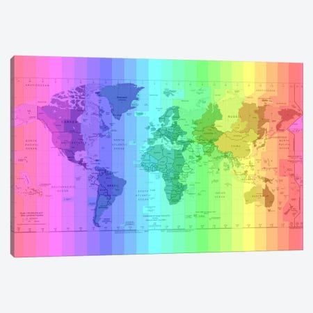 Rainbow Earth Time Zone Map Canvas Print #ICA147} by Unknown Artist Canvas Wall Art