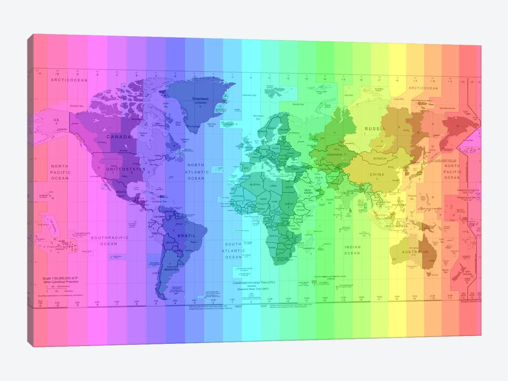 Rainbow Earth Time Zone Map by Unknown Artist 1-piece Canvas Artwork