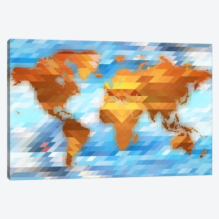 Earth Polygon Map Canvas Print #ICA148} by Unknown Artist Art Print