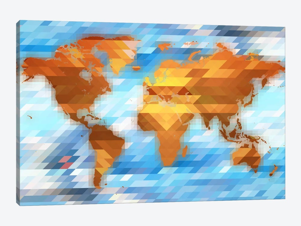 Earth Polygon Map by Unknown Artist 1-piece Art Print