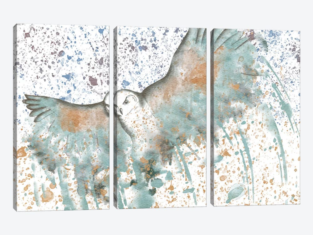 Owl Watercolor 3-piece Canvas Wall Art