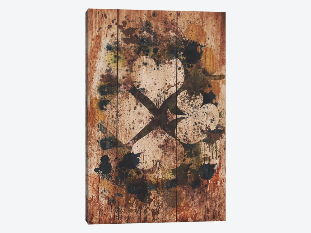 Wood Finish Card Suits by Unknown Artist 1-piece Canvas Print