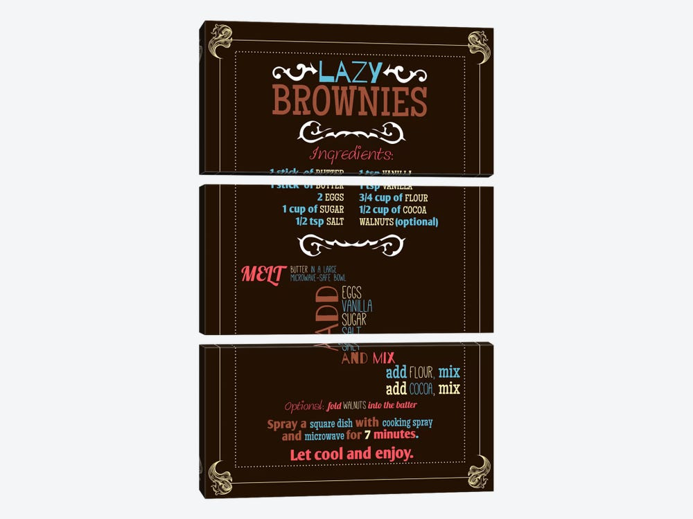 Lazy Brownie Recipe by iCanvas 3-piece Canvas Art