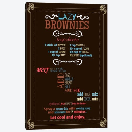 Lazy Brownie Recipe Canvas Print #ICA163} by Unknown Artist Canvas Art Print