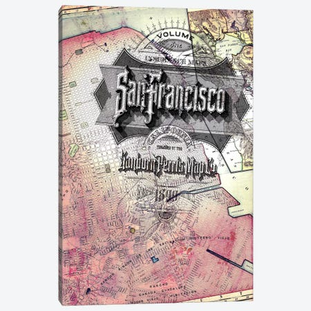 San Fransisco Vintage Map Canvas Print #ICA166} by Unknown Artist Canvas Artwork