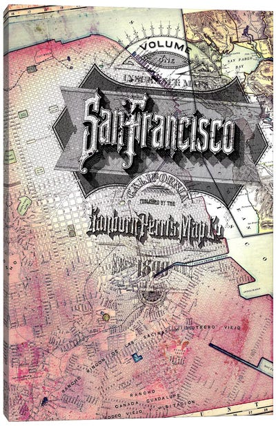 San Fransisco Vintage Map Canvas Print #ICA166