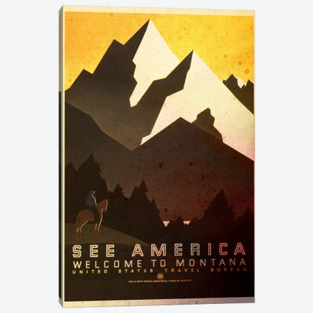See America, Welcome to Montana Canvas Print #ICA167} by Unknown Artist Canvas Art