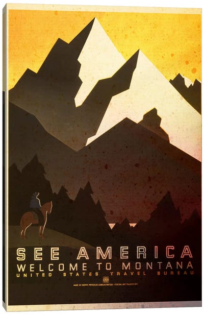 See America, Welcome to Montana Canvas Art Print